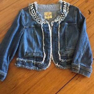 Princess Vera Wang denim jean jacket w/ pearls M